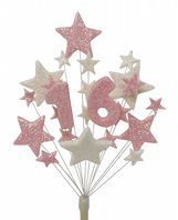 Number age 16th birthday cake topper decoration in pale pink and white - free postage